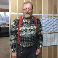 Peter in a special tiled monday morning long sleeved number with red braces of course