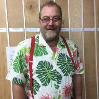 peter in gentle leaf print ready for work on a sunny day in the kiln dried timber shed