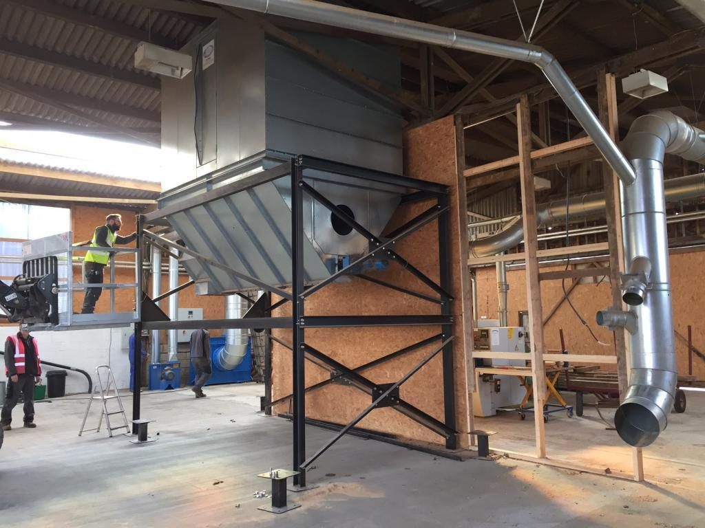 dust extraction hopper and mounting frame for sale at cocking sawmills