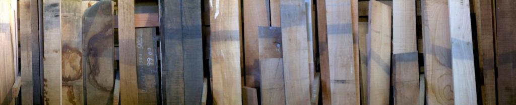 panorama of the woodshed timber rack packed full of oak square edge