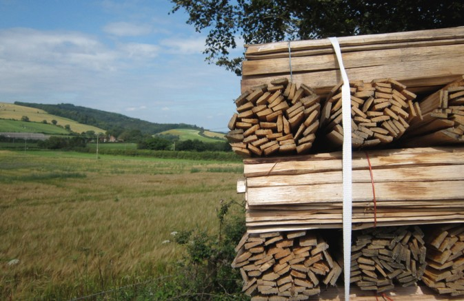 South Downs Way and traditional hand riven Chestnut laths