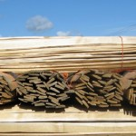 sweet chestnut hand riven lath bundles waiting for the next lime plaster job