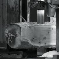 a beautiful character oak log goes through the band mill at Helmdon showing beautiful colouring and lovely sound knots