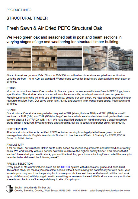 our product info about strucrual oak