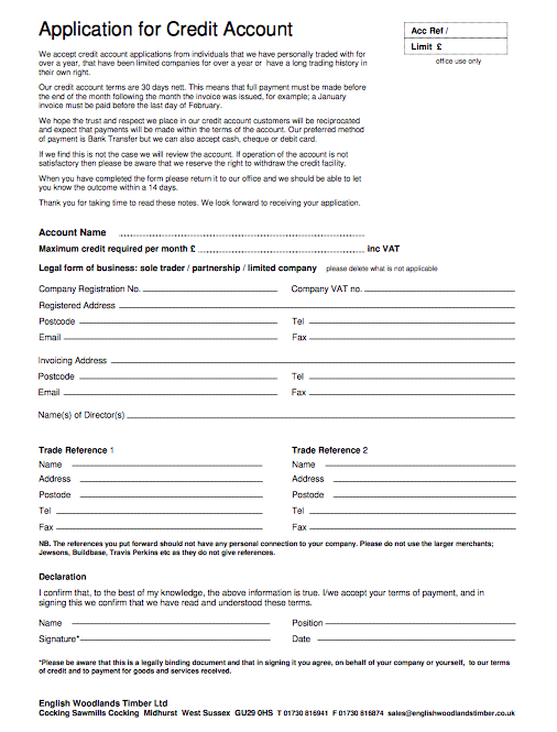 English Woodlands Timber Account Application Form