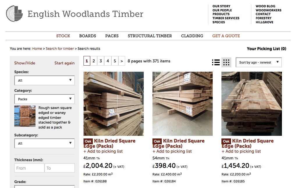 our stocklist details every piece of timber in the woodyard