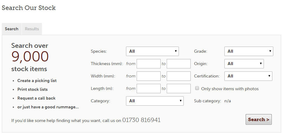 our innovative stock search tool supports grown in britain timber sales