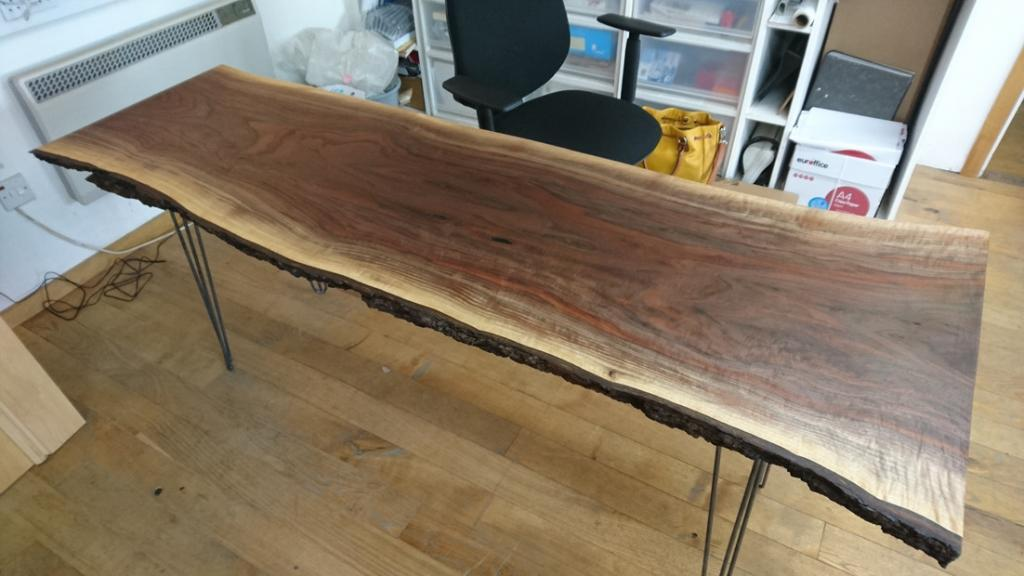 the finished desktop with legs from ben simpson furniture