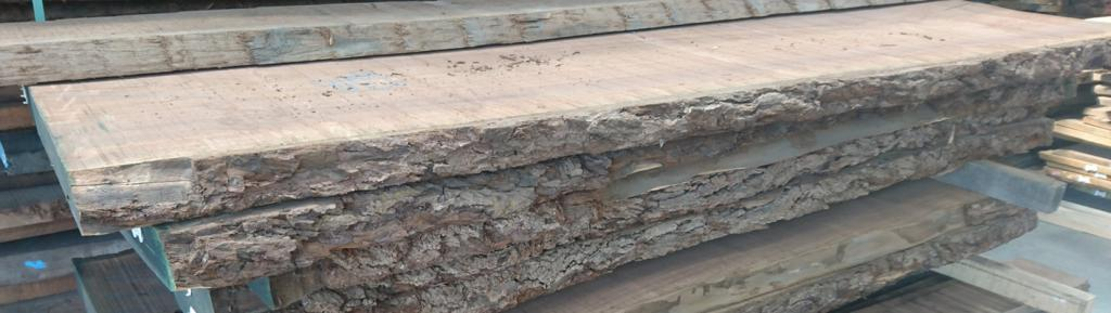 waney edge walnut boards ready for selection