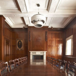 philip-hawkins workshop-walnut-dining-table-in-panelled-room
