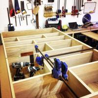 MHW Design wall unit in the making with oak