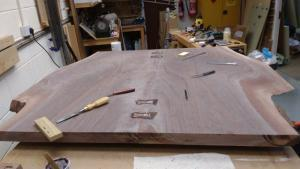 wooden & woven Large book matched black walnut boards to make top, jointed with number 7 handplane, glued with epoxy