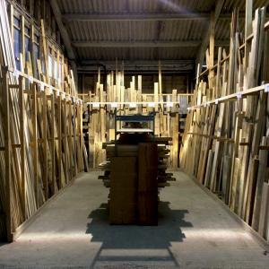 timber rack bay 1 square edge sorted into species sizes and already priced up