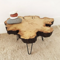 Handmade in Brighton fluted log cross section coffee table with retro metal legs