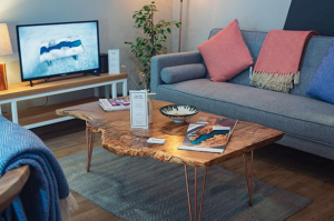 Revive joinery cosy lounge with waney edge coffee table