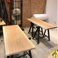 two waney edge tables in the making at Sky High Design woodworking workshop