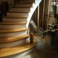 making a bespoke staircase in teh workshop of james pillier joinery