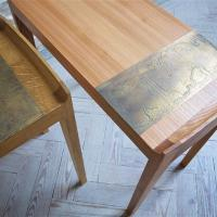 surface detail of metal inlaid side tables by petrel furniture