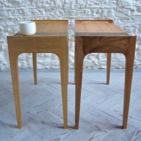 pair of metal inlaid side tables by petrel furniture