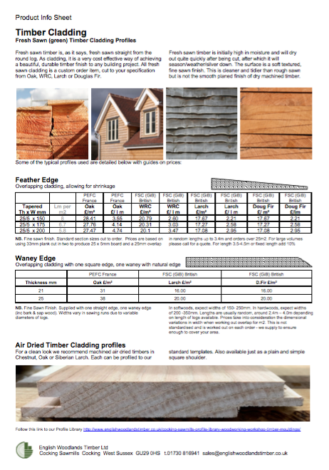 product info cladding fresh sawn and air dried all species