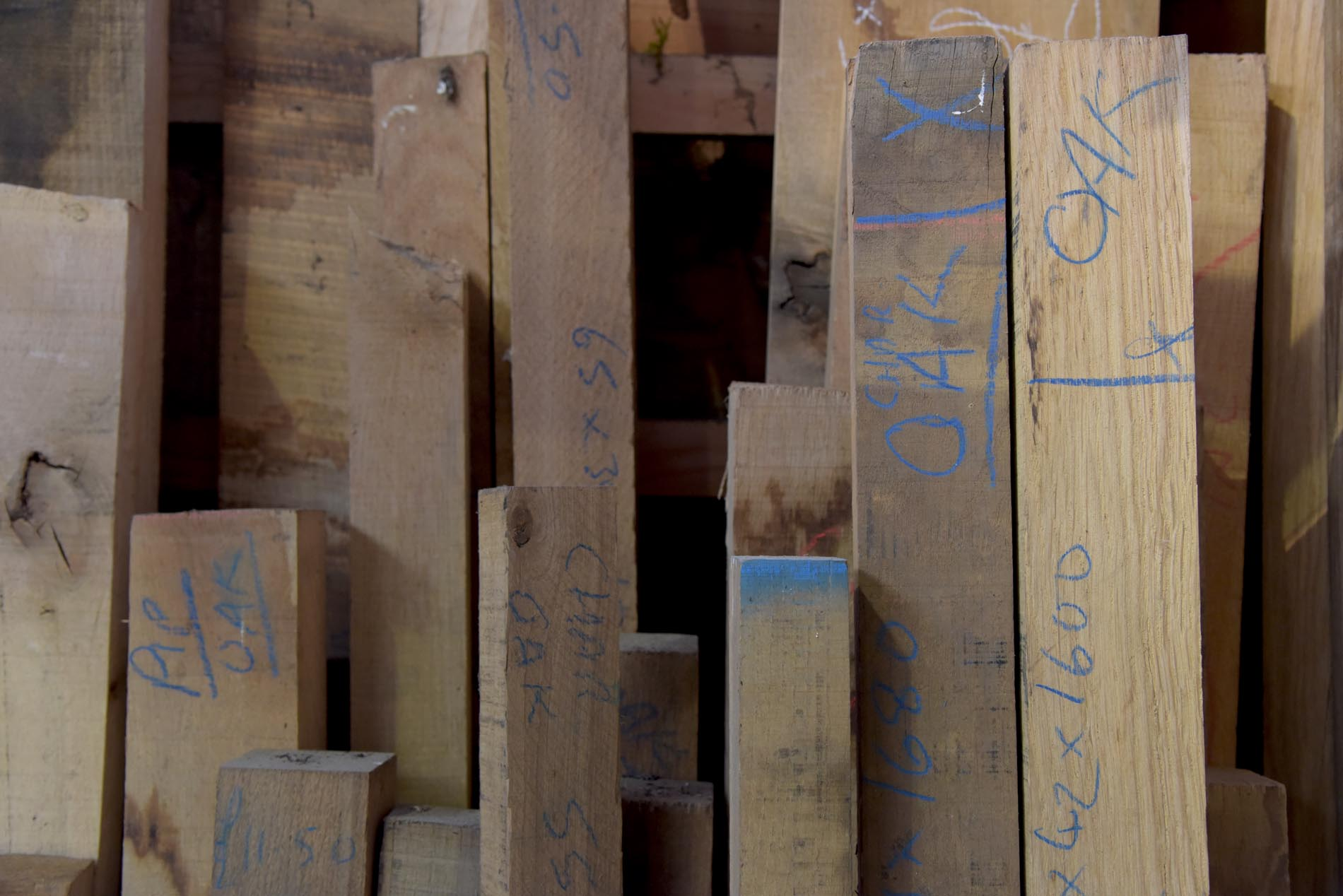 square edge wood in the timber rack