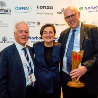 Ian Mcnally and Tom Compton Team EWT won small timber business of the year at TTJ awards 2019 presented by and Zoe Lyons