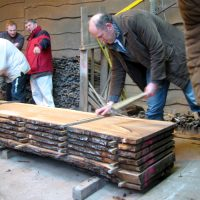 tom sticks an elm log as it comes off the saw at the CONFOR visit