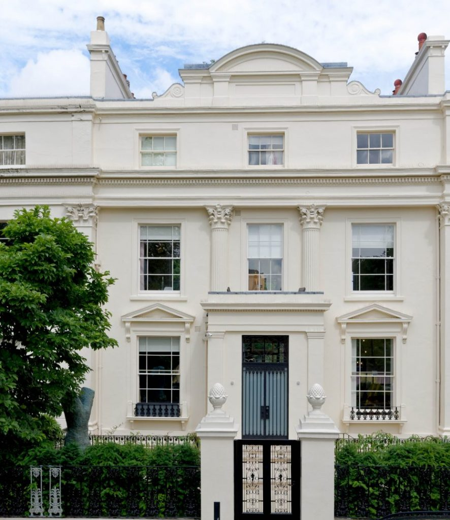 period classic white plaster facade restoration by r w armstrong and sons