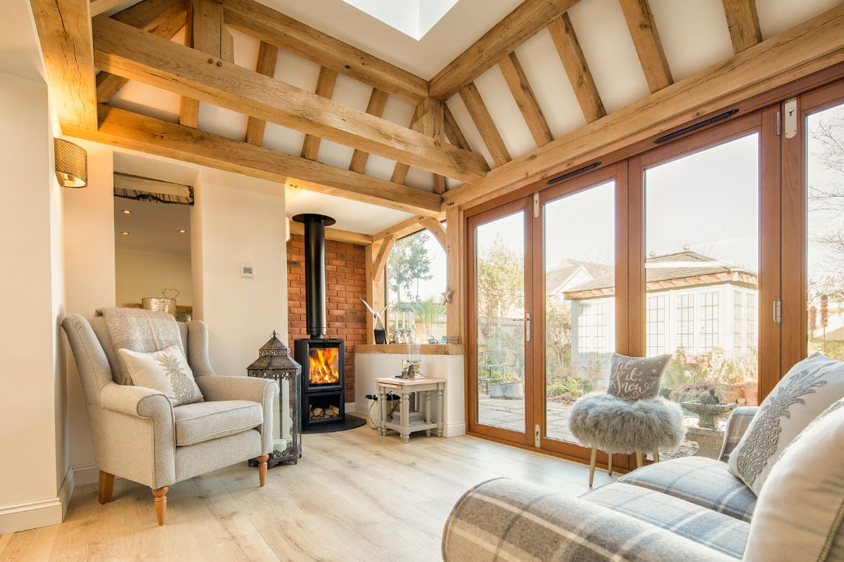 traditional oak frame building with vaulted ceiling and lightwell