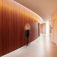 ribbon wall vertical strip interior timber cladding by simon thomas pirie