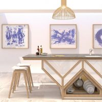 elk kitchen extraordinary O45 island with stools details