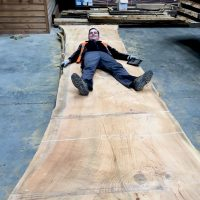 Max measuring up the new cedar of lebanon boards with MD Tom