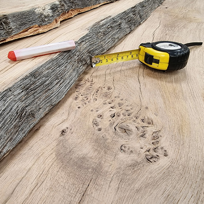 air dried waney edge Oak plank for joinery and furniture making
