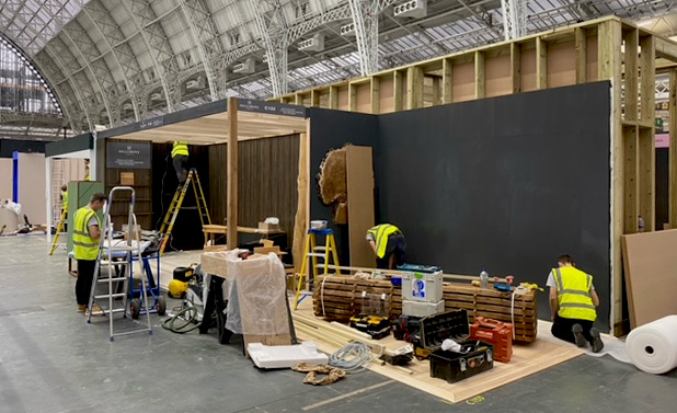 james nick simon and john building the decorex stand for hillgrove timber co