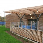 French motorway services Larch cladding and pergola