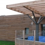 French motorway services Larch pergola terrace