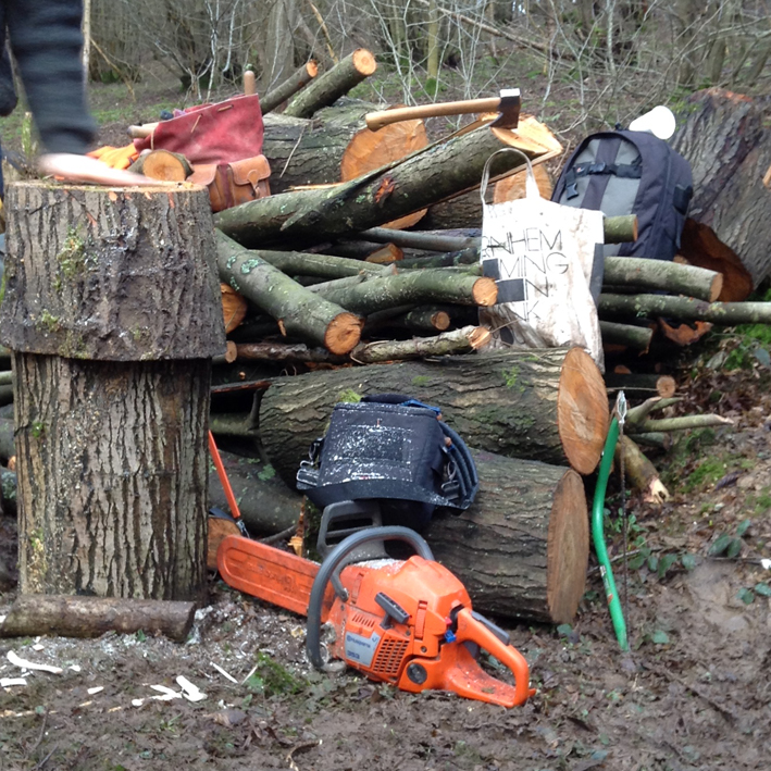 chainsaw, toolbags, billhooks and lunch!