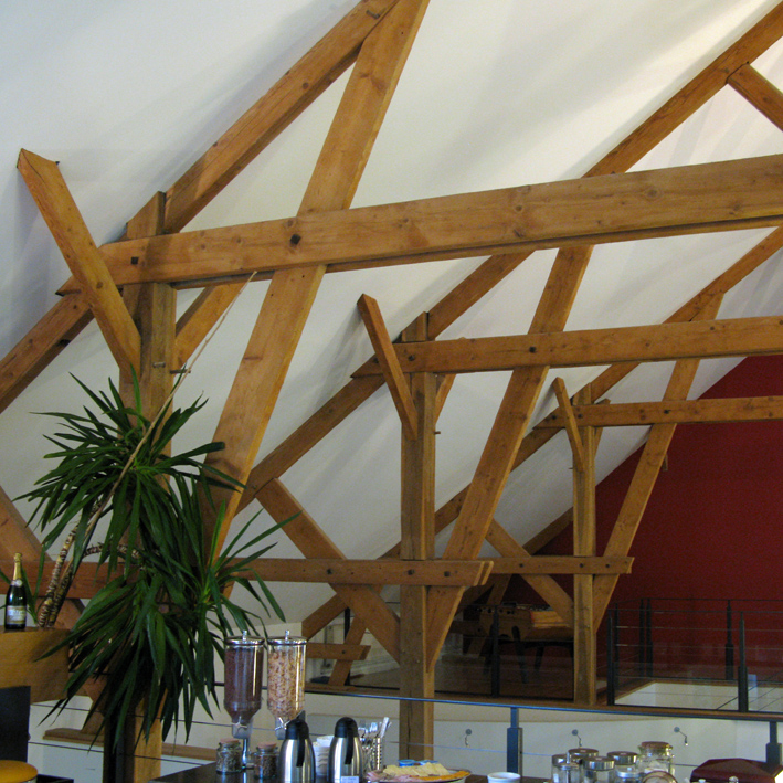 Mont D'Hor at St Thierry. Breakfast time in the Barn with old Douglas Fir roof structure