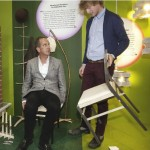 Seb Cox discussing chairs with Kevin McCloud