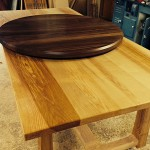 West's of East Dean English Ash table 7 n.Am Black Walnut table top in the workshop