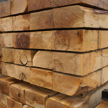 Fresh Sawn Oak sleepers for landscaping and groundworks