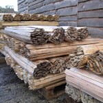 hand riven chestnut lath bundles palleted and ready to deliver